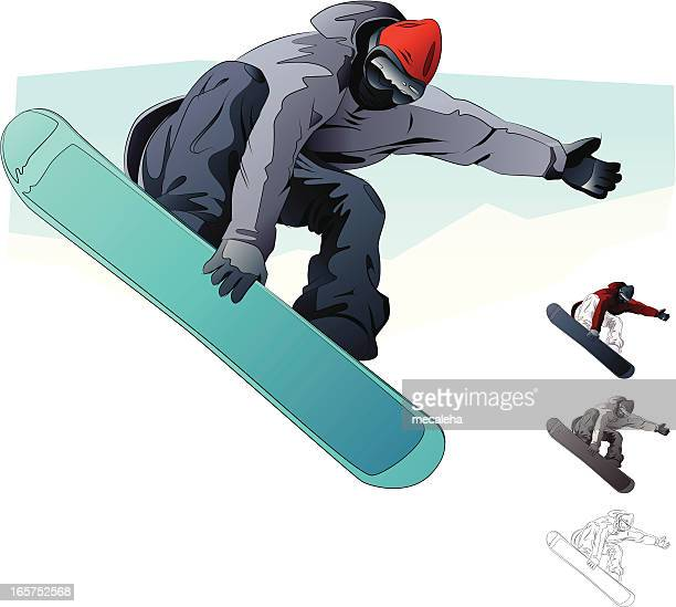An illustration of a snow boarder