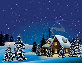 An illustration of a snowy Christmas night
