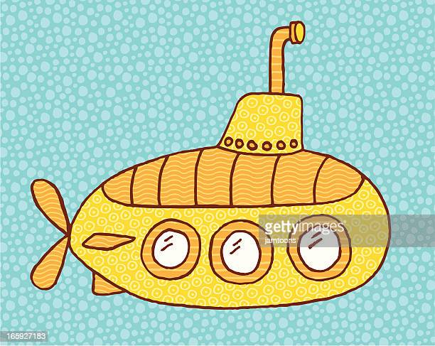 An illustration of a submarine on a blue background