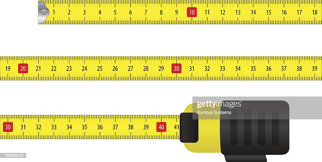 An illustration of a tape measure using metric measuring