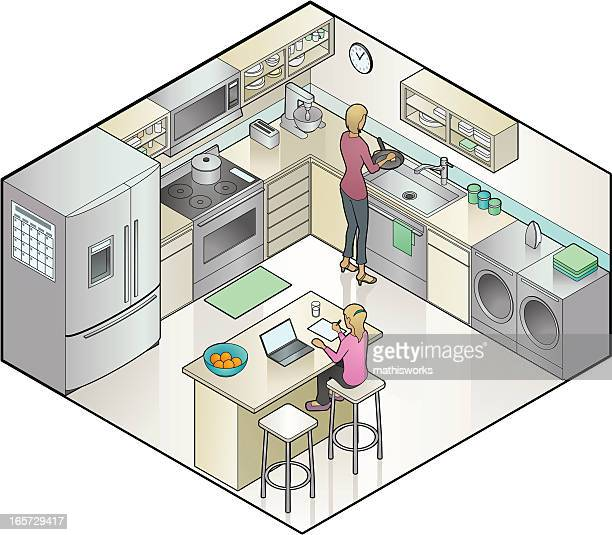 An illustration of a woman cooking in the kitchen