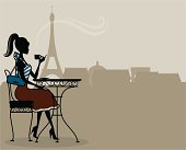 An illustration of a woman having french coffee in Paris