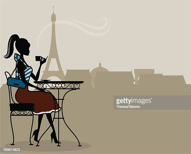 an illustration of a woman having french coffee in paris - french culture stock illustrations