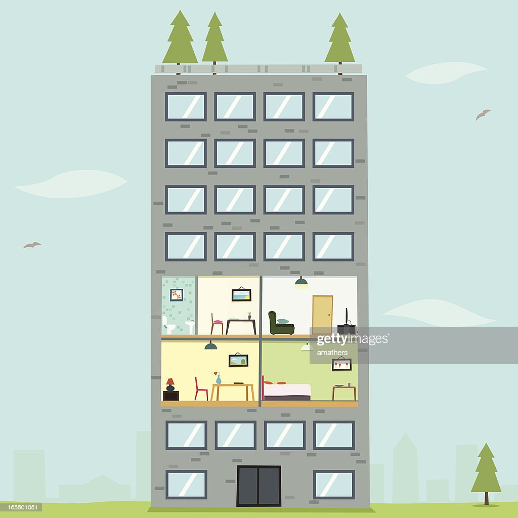 An illustration of an apartment with a pine tree : stock illustration