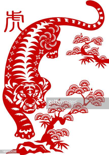 An illustration of an Asian tiger next to trees in red