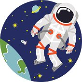 An illustration of an astronaut floating over Earth
