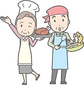 An illustration of an old couple cooking