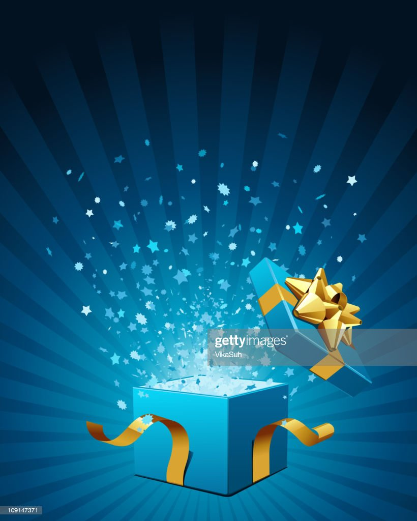 An illustration of an open gift box with gold ribbon