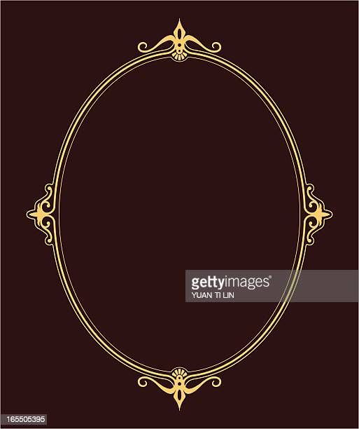 An illustration of an oval frame with brown background