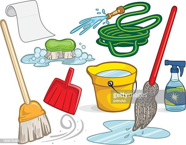 an illustration of cleaning supplies - paper towel stock illustrations, clip art, cartoons, & icons