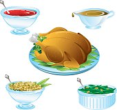 An illustration of delicious Thanksgiving dinner icons
