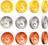 An illustration of dollar coins in various colors