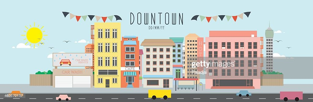 An illustration of down town in a city