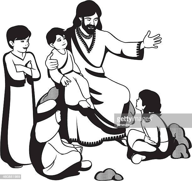 an illustration of jesus christ together with four children - jesus stock illustrations, clip art, cartoons, & icons