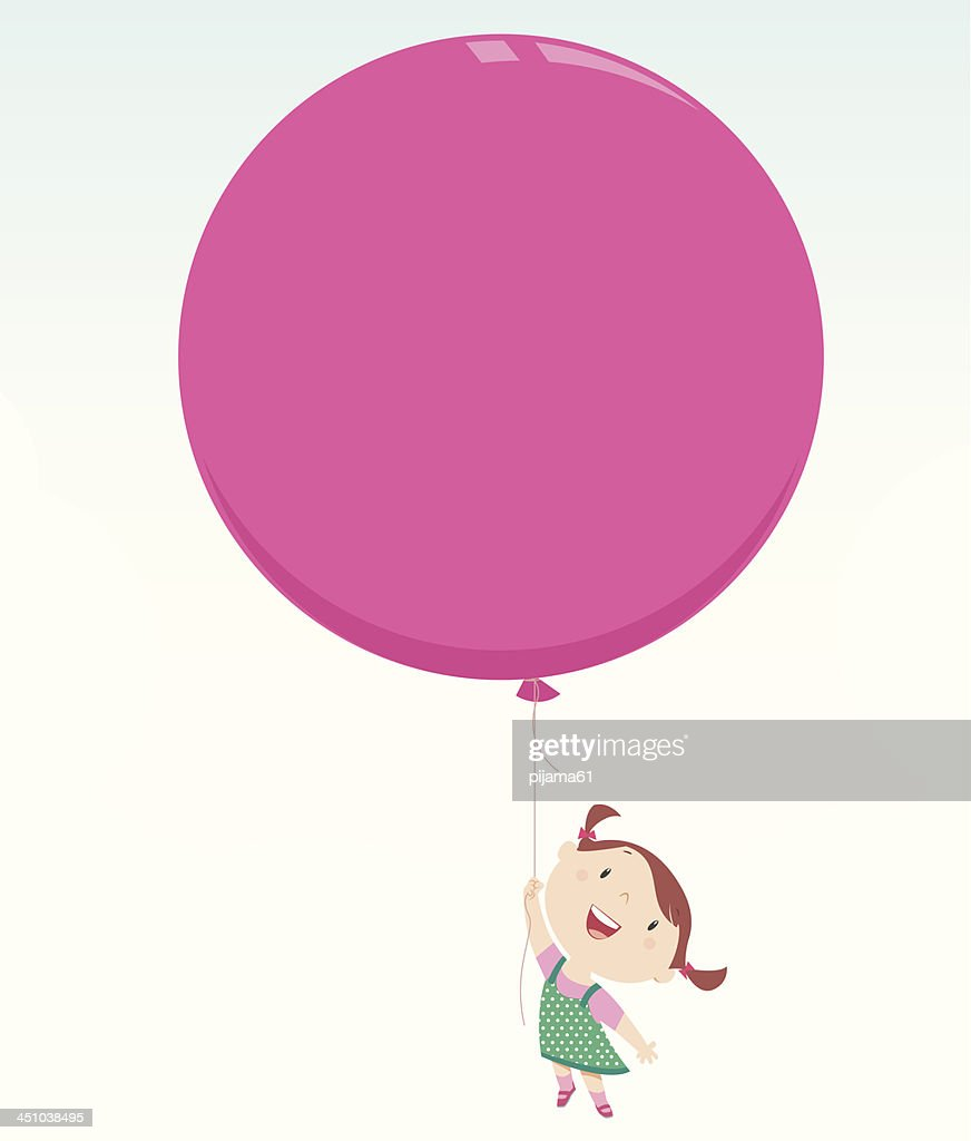 An illustration of little girl holding a big pink balloon