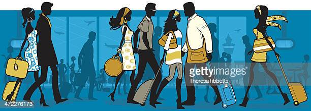 an illustration of people at the airport - airport terminal stock illustrations, clip art, cartoons, & icons