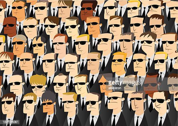 an illustration of security officers - central intelligence agency stock illustrations