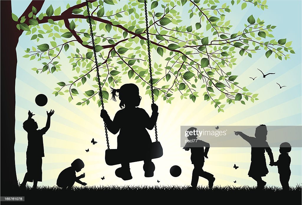 An illustration of silhouettes of children playing outside