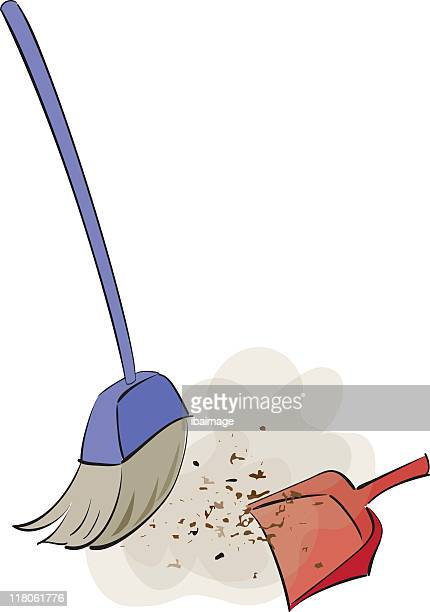 an illustration of sweeping brushes - dustpan stock illustrations, clip art, cartoons, & icons