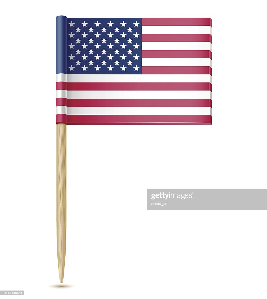 An illustration of the American flag on a toothpick