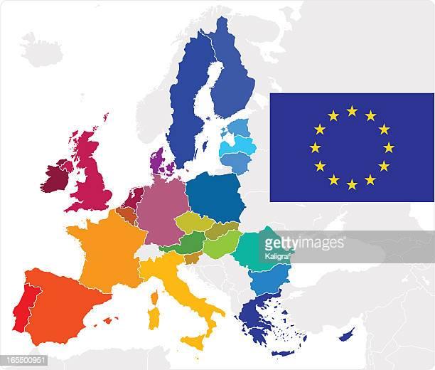 illustrazioni stock, clip art, cartoni animati e icone di tendenza di mappa e bandiera dell'unione europea - la comunità europea