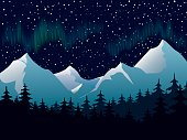 An illustration of the northern lights over the mountain top
