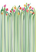 An illustration of tulips with very long green stems