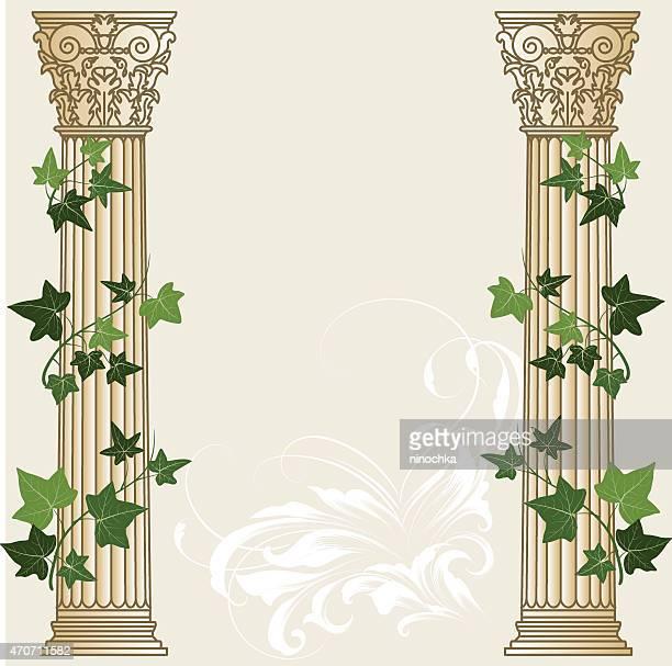 an illustration of two ivy columns - corinthian stock illustrations, clip art, cartoons, & icons