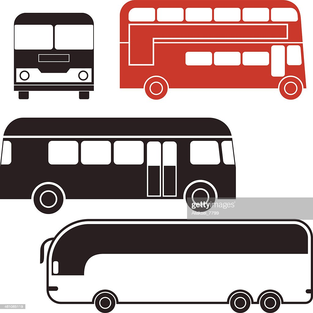 An illustration of various type of buses