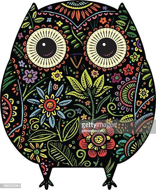 an image of a patterned owl with flowers - owl stock illustrations, clip art, cartoons, & icons