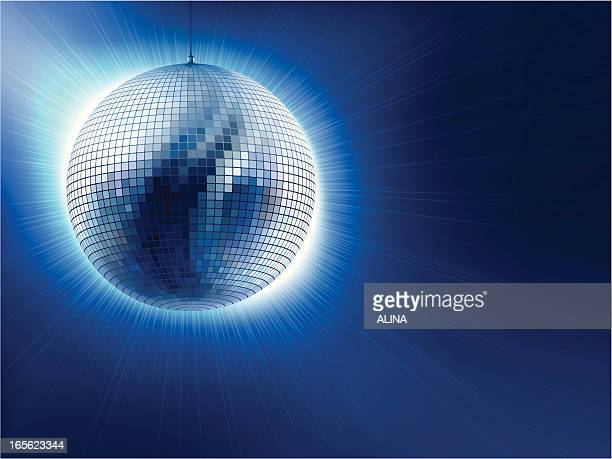 An image of a silver disco ball against blue background