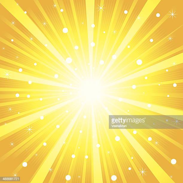 An image of a yellow sunrise interspersed with bright dots