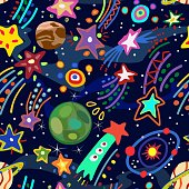 An image of starfall in style of child's drawing. Vector