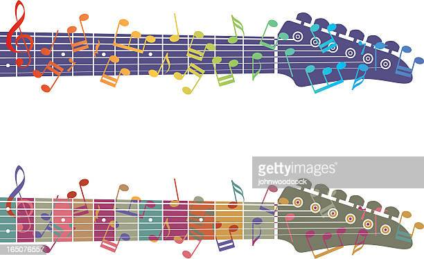 an image of two guitar necks and colorful music notes - treble clef stock illustrations, clip art, cartoons, & icons