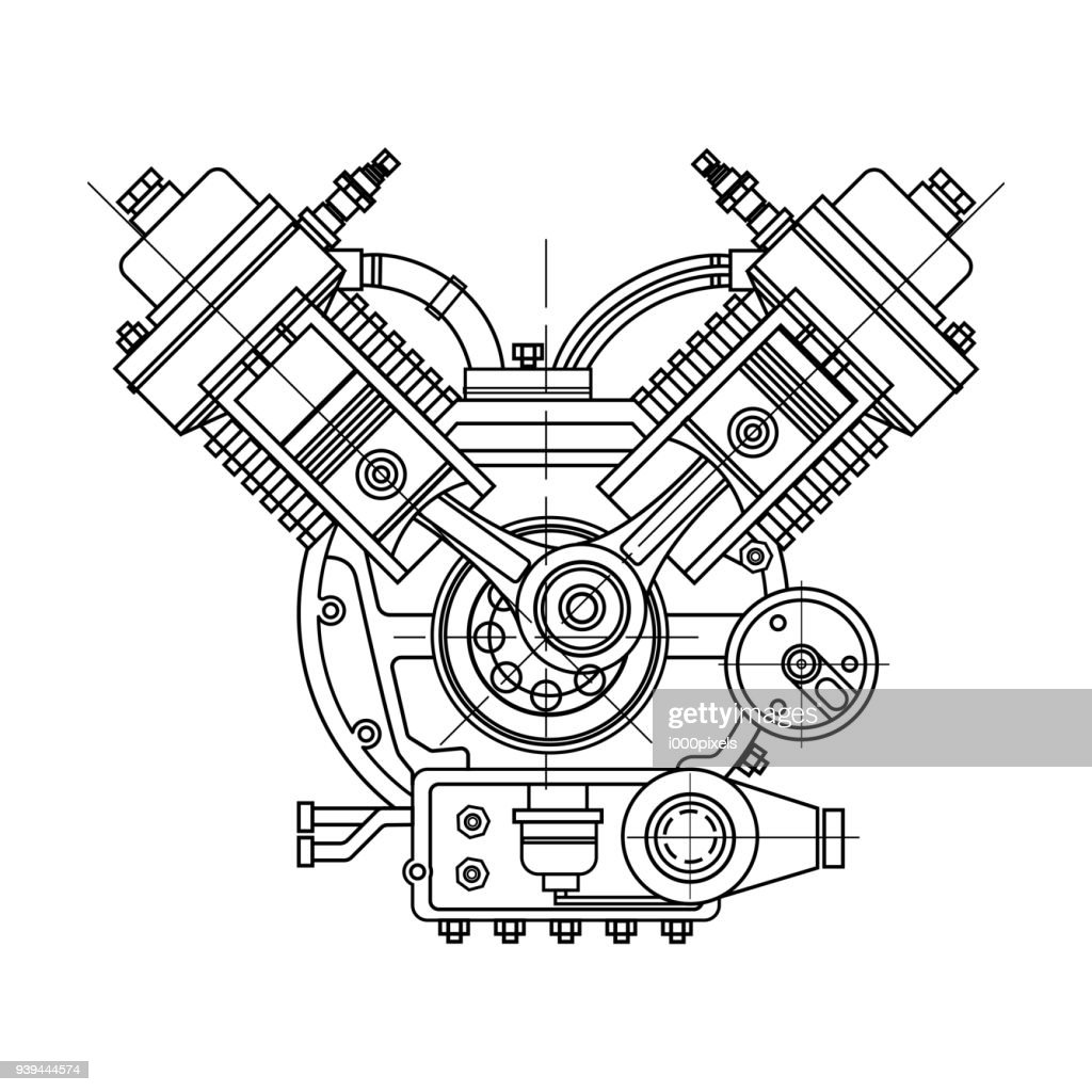 An internal combustion motor. The drawing engine of the machine in section, illustrating the inner structure - the cylinders, pistons, the spark plug. Isolated on white background