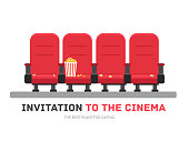 An invitation to the movie in flat design background concept