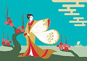 An lustration of a woman in a kimono with butterfly sleeves