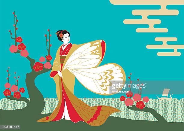 illustrations, cliparts, dessins animés et icônes de femme porter le kimono. - estampe japonaise