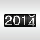 An odometer changing from 2014 to 2015 for New Year
