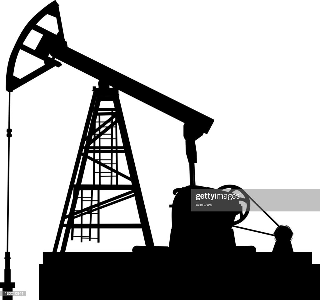 An oil pump jack silhouette on a white background