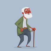 An old African man with a beard and a cane.