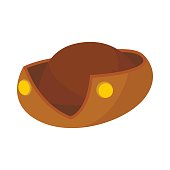 An old brown hat icon in cartoon