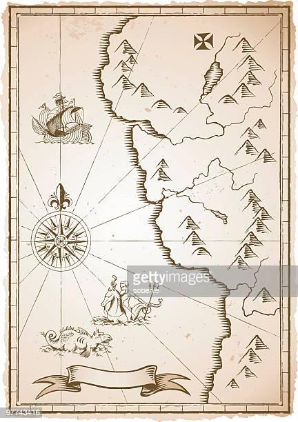 ilustraciones, imágenes clip art, dibujos animados e iconos de stock de antiguo mapa - mapa del tesoro