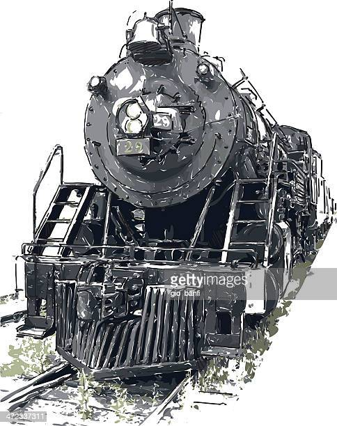 an old steam train frontal view - steam train stock illustrations