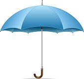 An open blue umbrella on a white background