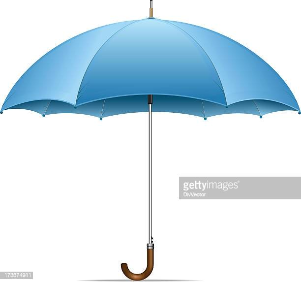 an open blue umbrella on a white background - handle stock illustrations, clip art, cartoons, & icons