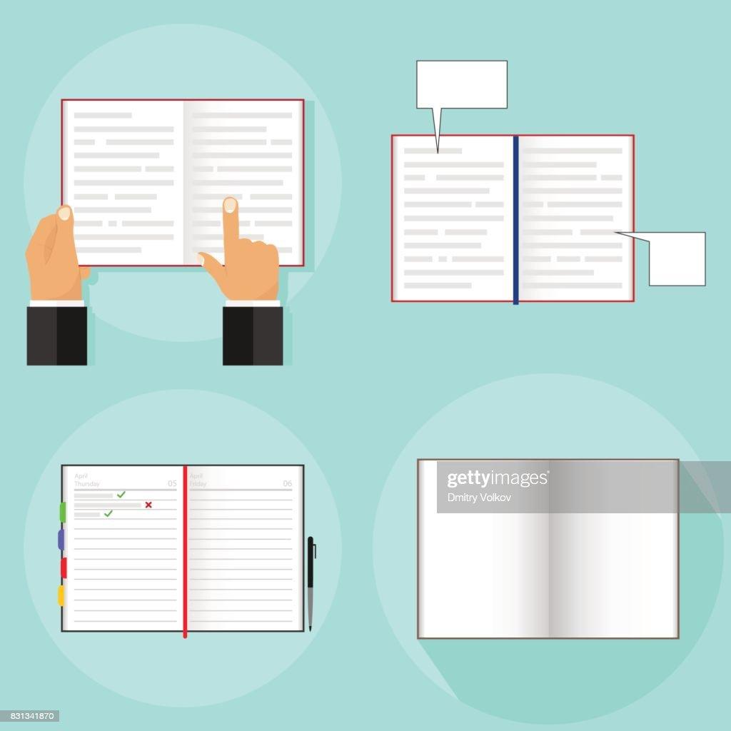 An open book, a person reads an open book. Open notebook