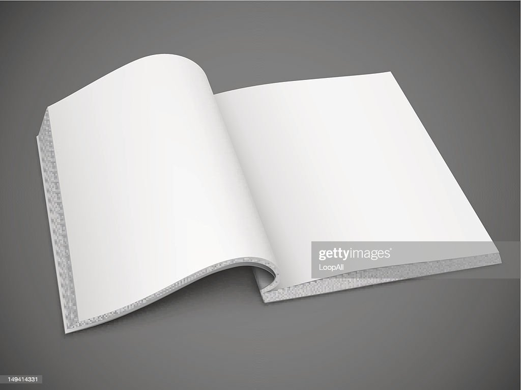 An open book with blank, white pages on a grey background
