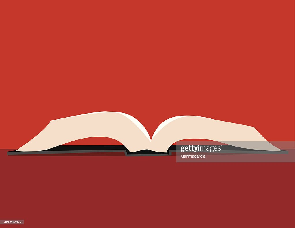 An opened white pages book on a red surface : stock illustration