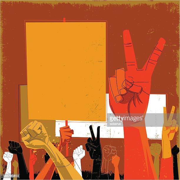 an orange and red toned drawing of hands protesting - peace sign stock illustrations, clip art, cartoons, & icons